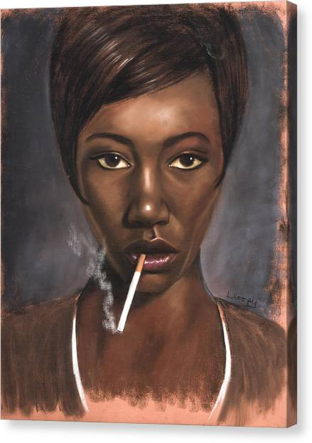 Sister With Cigarette Canvas Print by L Cooper