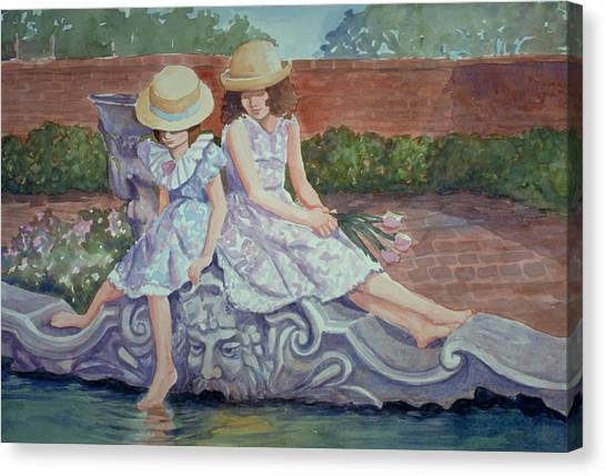 Sisters At The Fountain Canvas Print