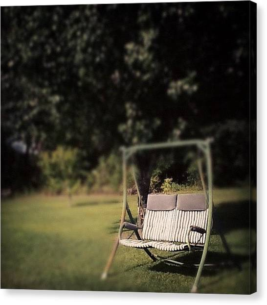 Swing Canvas Print - Sit With Me? #sad #lonely #nature #jj by Leslie Drawdy ☀