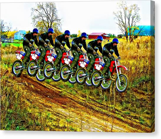 Dirt Bikes Canvas Print - Six Pack by Steve Harrington
