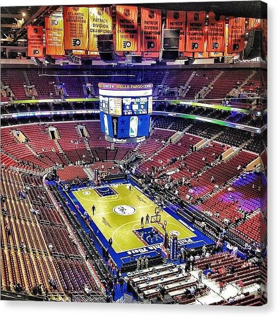 Basketball Teams Canvas Print - Sixers Vs Bucks by Ross Shaffer