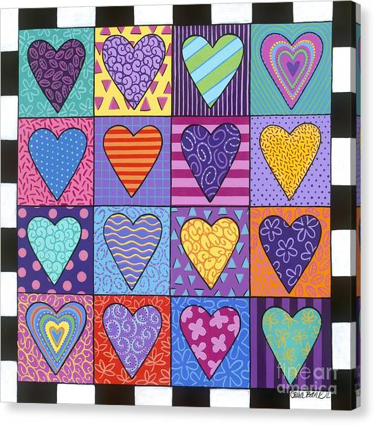 Canvas Print featuring the painting Sixteen Hearts by Carla Bank