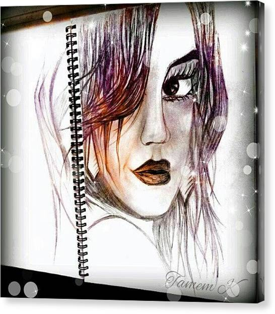 Comics Canvas Print - #sketch #girl #comic #eyes #art #lips by K H   U   R   A   M