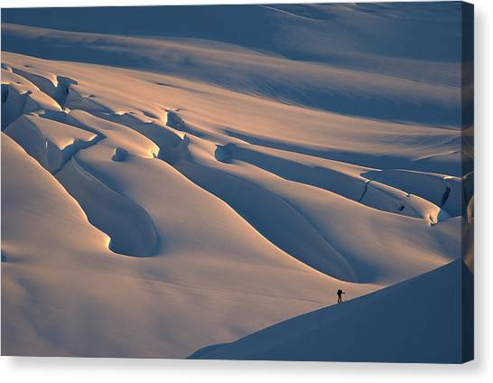 Fox Glacier Canvas Print - Skier And Crevasse Patterns At Sunset by Colin Monteath