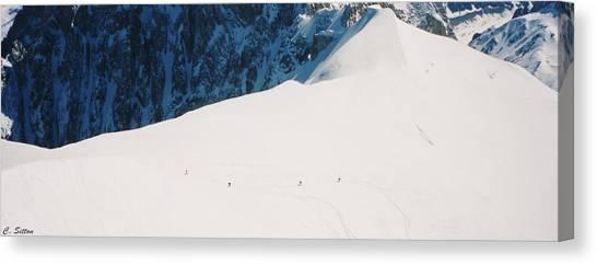 Skiing In Chamonix Canvas Print
