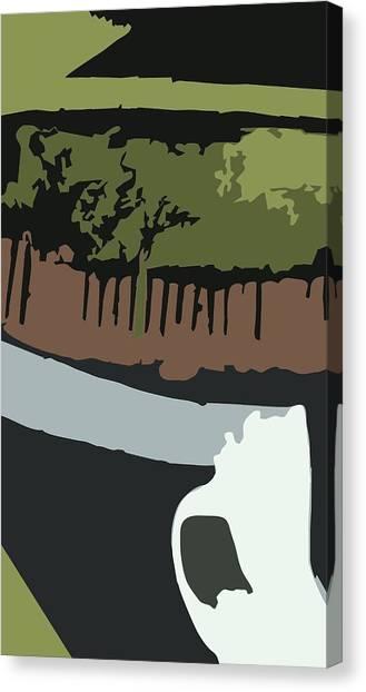 Green Camo Canvas Print - Skull 2 by Kirt Bowman