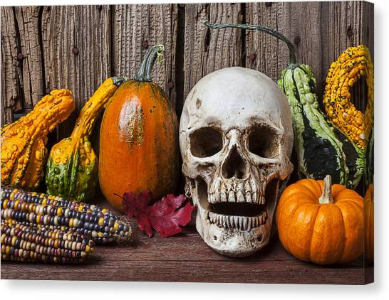 Indian Corn Canvas Print - Skull And Gourds by Garry Gay