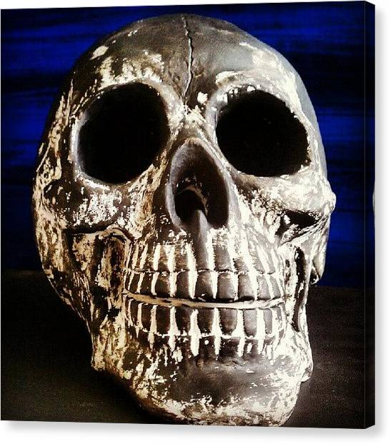 Teeth Canvas Print - Skull Being Painted. #skull #skeleton by Troy Thomas