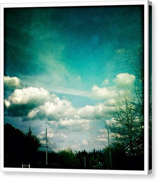 Yen Canvas Print - #sky #clouds #blue #hipstamatic by Kee Yen Yeo