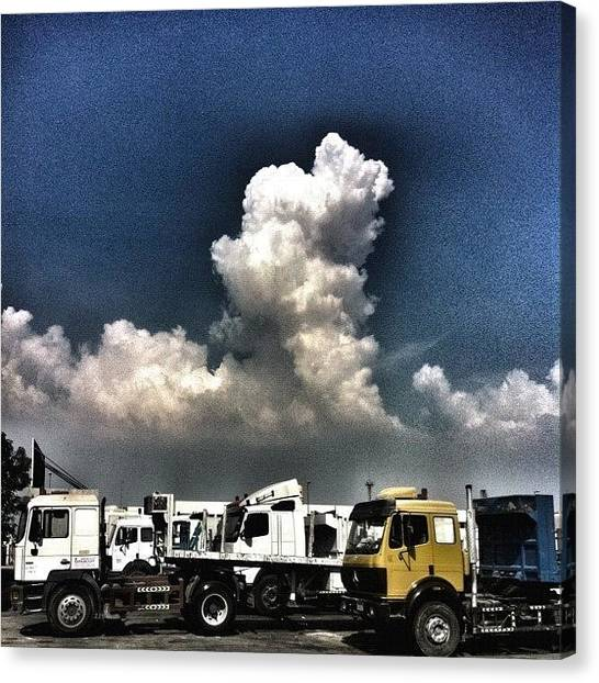Trucks Canvas Print - #sky #clouds #day #truck #blue by Jaffer Shadiq
