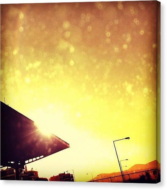 Athens Canvas Print - #sky #gold #golden #yellow #orange by Vassilis Valimitis