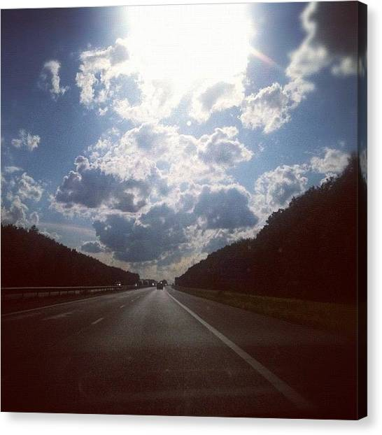 Traffic Canvas Print - #sky #road #highway #clouds #trees by Nanny Noya