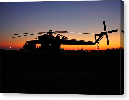 Skycrane Canvas Print - Skycrane At Sunset by Rick Mann