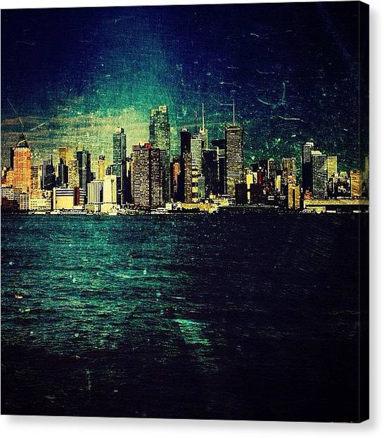 Harbors Canvas Print - Skyline Of Nyc. #nyc #skyline #sky by Cat Noone