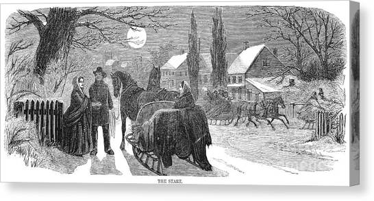 Sleds Canvas Print - Sleighing, 1858 by Granger
