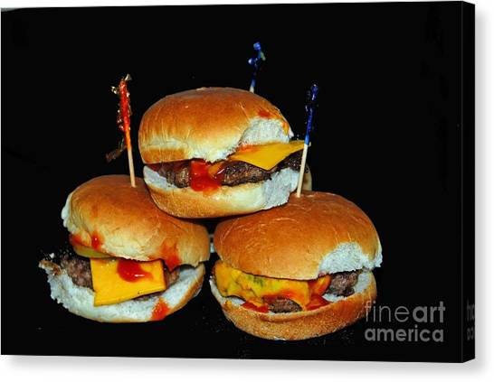 Cheesburger Canvas Print - Sliders by Cindy Manero