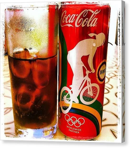 Soda Canvas Print - Slurp, That's Better! #coke #cocacola by Richard Randall