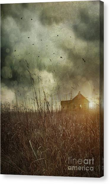 Old Houses Canvas Print - Small Abandoned Farm House With Storm Clouds In Field by Sandra Cunningham
