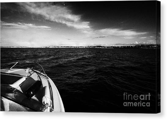 Small Boat Approaching Bangor From Belfast Lough County Down Northern Ireland Canvas Print by Joe Fox