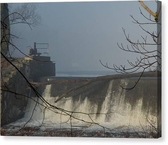 Small Dam In Fog Canvas Print