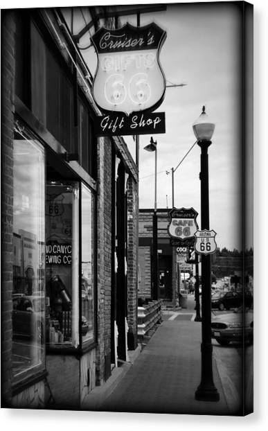 Historic Route 66 Canvas Print - Small Town Shops by Ricky Barnard