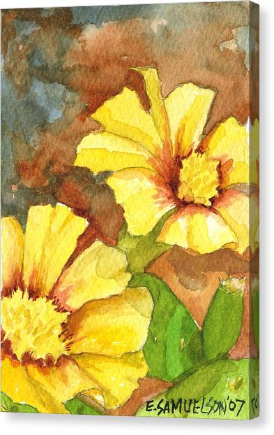 Small Yellow Flowers Canvas Print