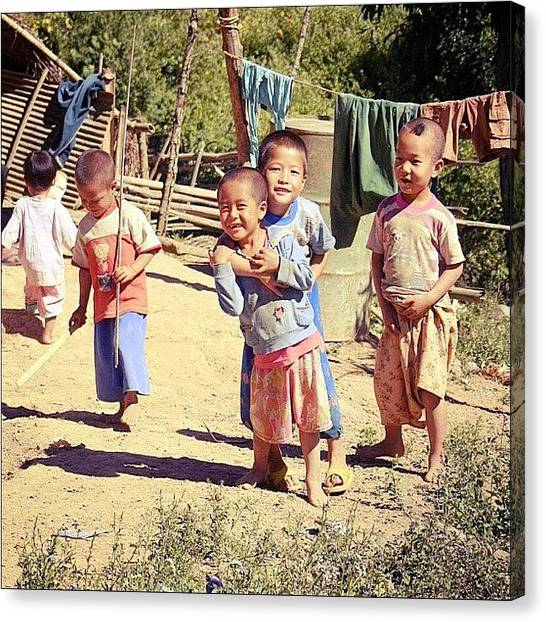 Kids Canvas Print - Smiles #thailand #travel #happy #kids by A Rey