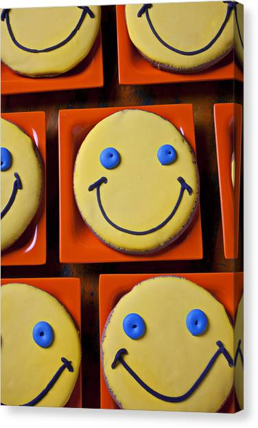 Cooky Canvas Print - Smiley Face Cookies by Garry Gay