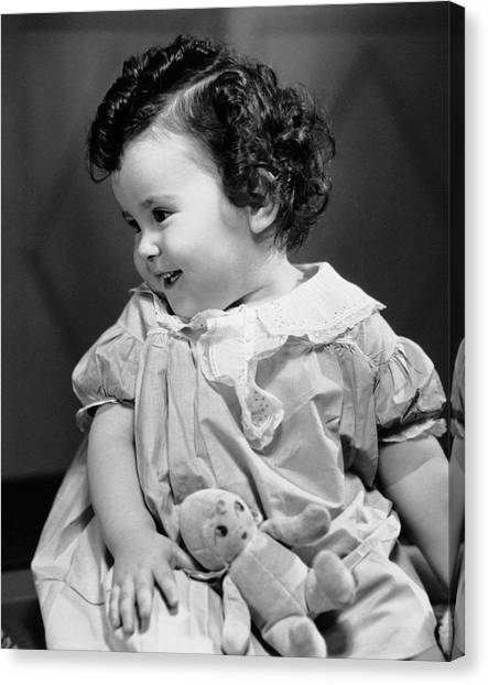 Smiling Baby W/teddy Bear Canvas Print by George Marks