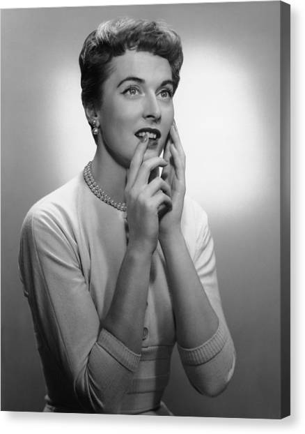 Smiling Woman Posing In Studio, (b&w) Canvas Print by George Marks