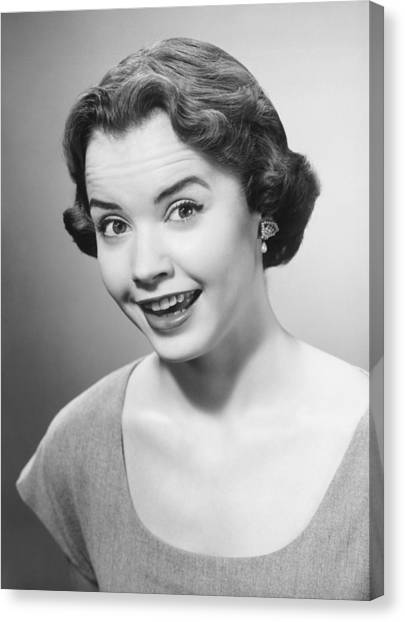 Smiling Woman Posing In Studio, (b&w), Portrait Canvas Print by George Marks
