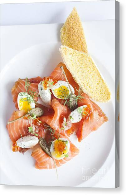 Smoked Salmon And Cream Cheese Canvas Print by Chavalit Kamolthamanon