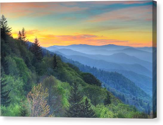 Smoky Mountain Morning Splendor Canvas Print by Mary Anne Baker