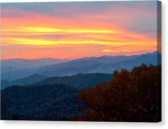 Smoky Mountains Burning Sunset Canvas Print