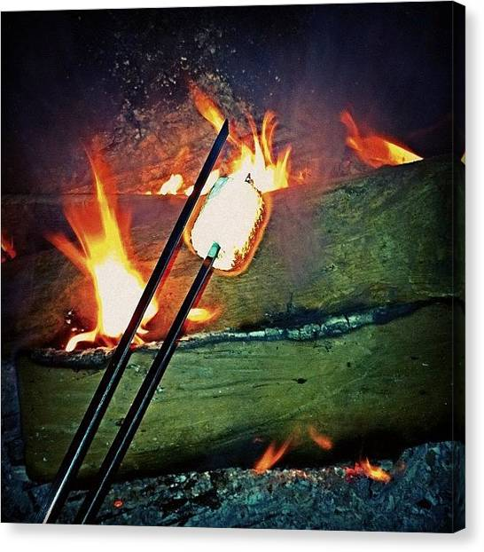 Flames Canvas Print - S'mores Anyone??! by Corrie Pannell Fleming