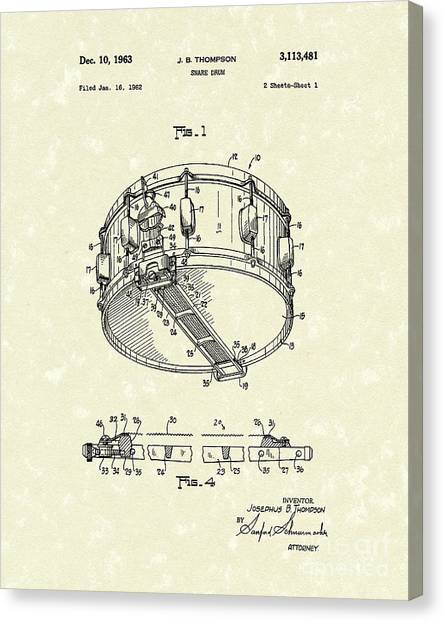 Snares Canvas Print - Snare Drum 1963 Patent Art by Prior Art Design