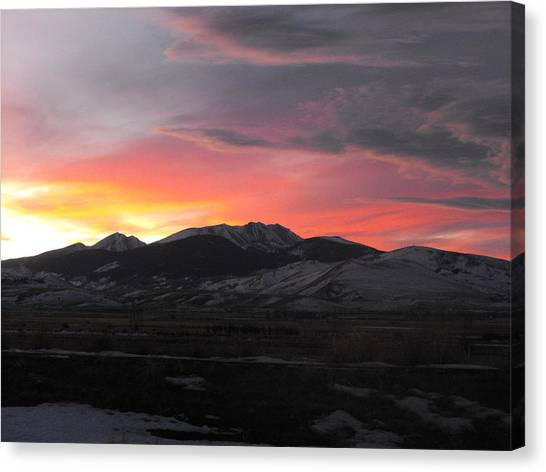 Snow Covered Mountain Sunset Canvas Print
