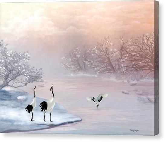 Snow Cranes Canvas Print