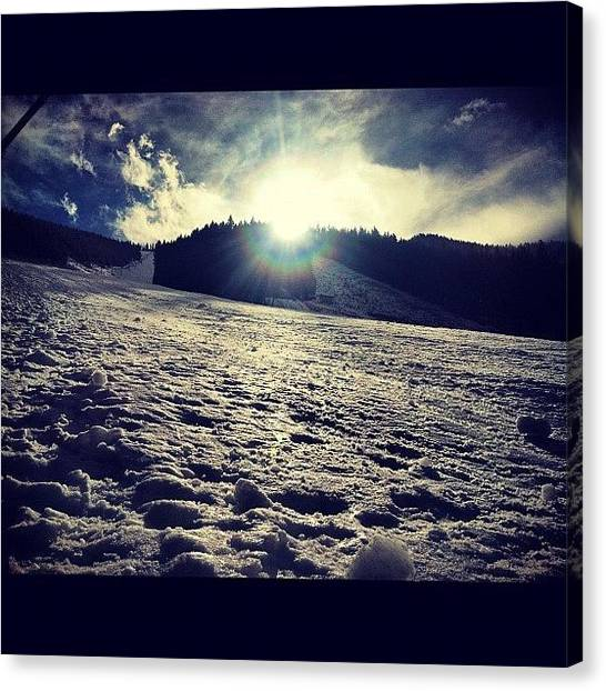 Snowboarding Canvas Print - #snow #downhill #resort #sunvalley by Cesar D Romero