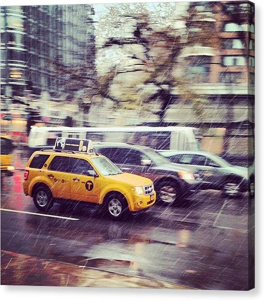 White Canvas Print - Snow In Nyc by Randy Lemoine