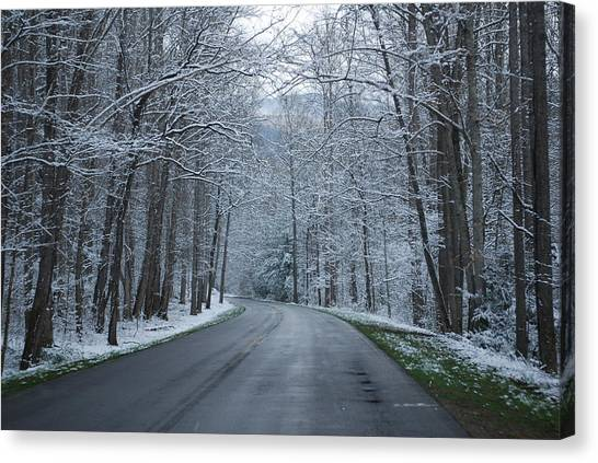 Snow On The Road Canvas Print by Carrie Munoz