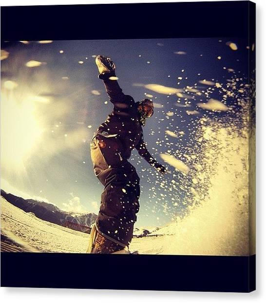 Snowboarding Canvas Print - #snow #snowboard #powder #me #instagood by Cesar D Romero