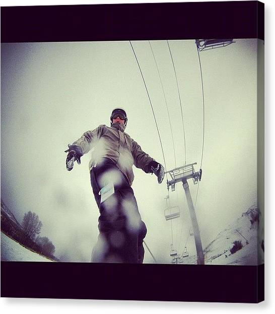Snowboarding Canvas Print - #snow #snowboarding #photooftheday by Cesar D Romero