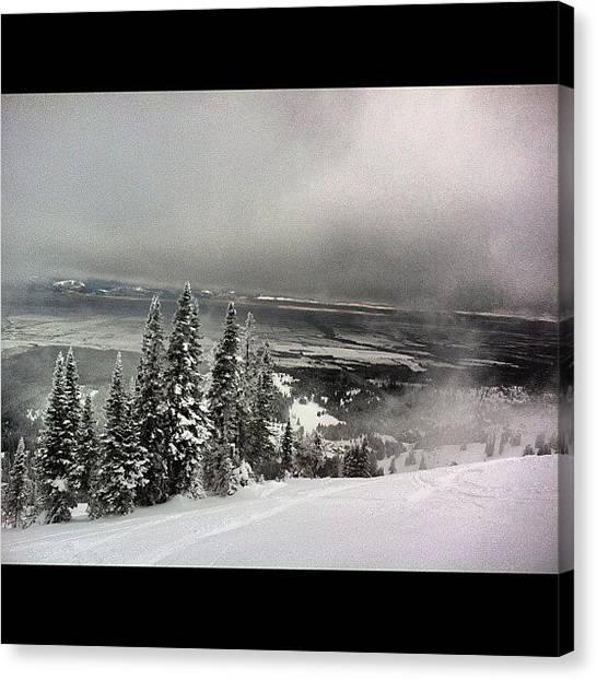 Snowboarding Canvas Print - #snow #snowboarding #targhee #wyoming by Niels Rasmussen