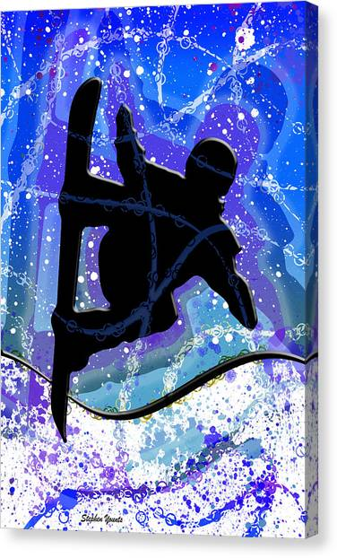 Freeriding Canvas Print - Snowboarder by Stephen Younts