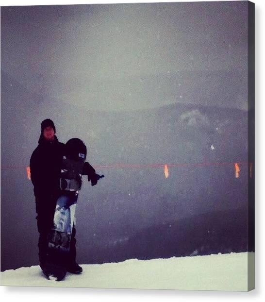 Snowboarding Canvas Print - #snowboarding #mountains #snow #maine by Billy Bateman