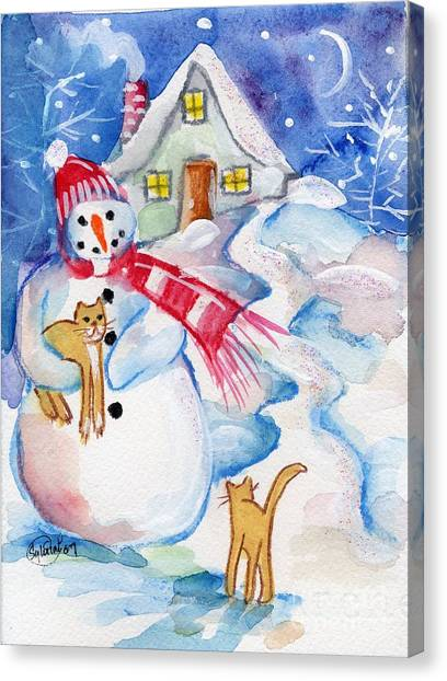 Snowman And Kitten Canvas Print by Sylvia Pimental