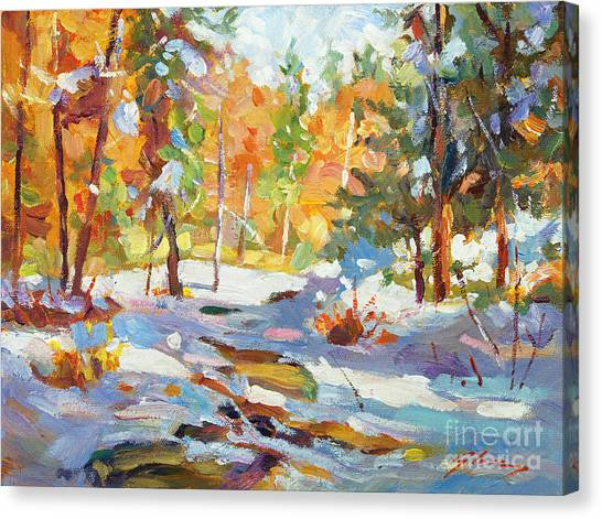 Snowy Autumn - Plein Air Canvas Print by David Lloyd Glover