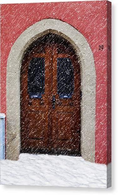 Fuselier Canvas Print - Snowy Door by Cecil Fuselier