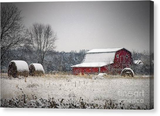 Snowy Red Barn Canvas Print
